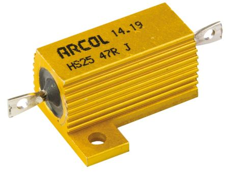 Arcol HS25 Series Aluminium Housed Axial Wire Wound Panel Mount Resistor, 47Ω ±5% 25W