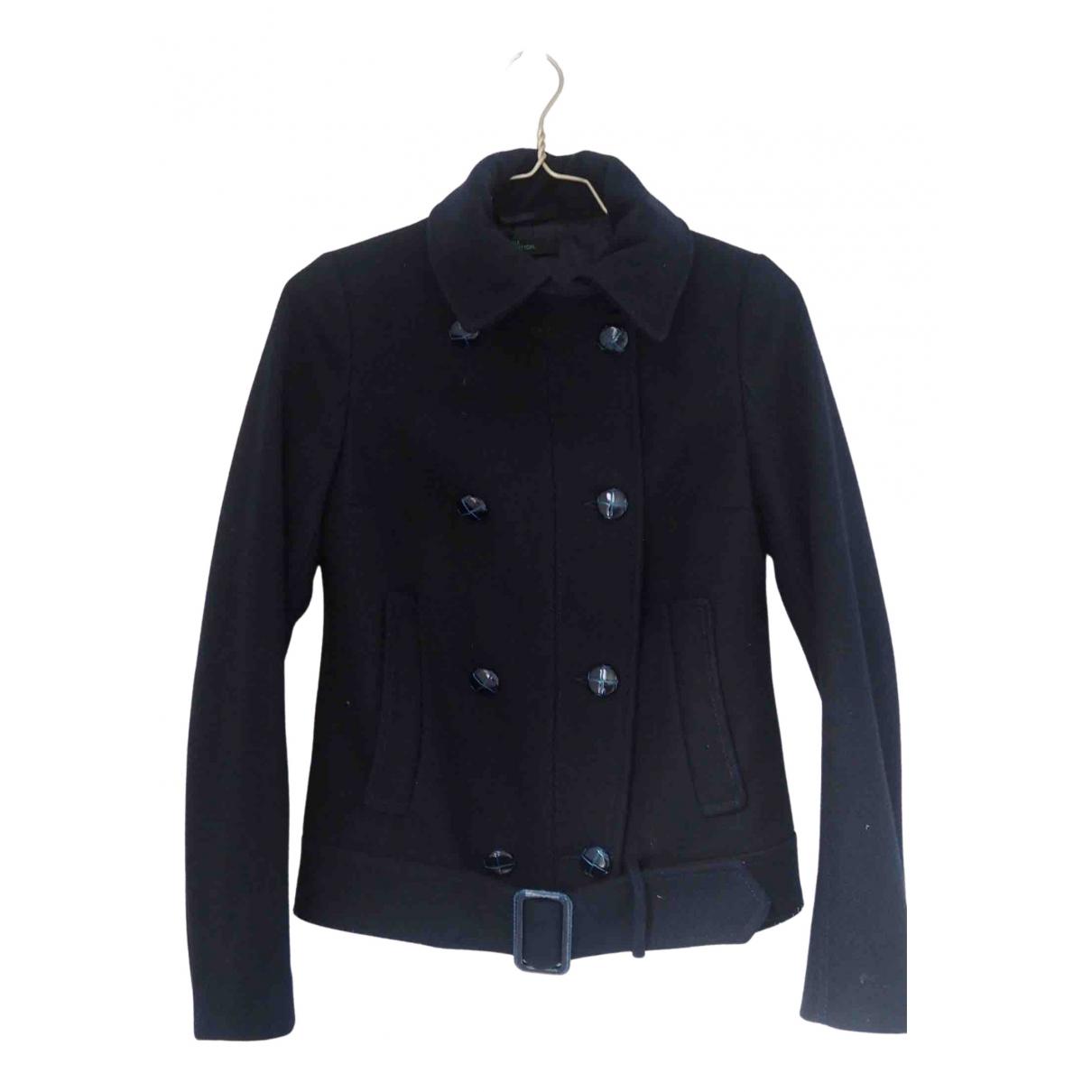 Benetton - Manteau   pour femme en laine - marine