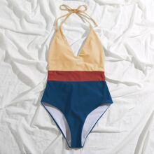 Color Block Halter One Piece Swimsuit
