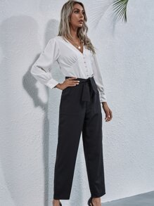 Knot Front Slant Pocket Tailored Pants