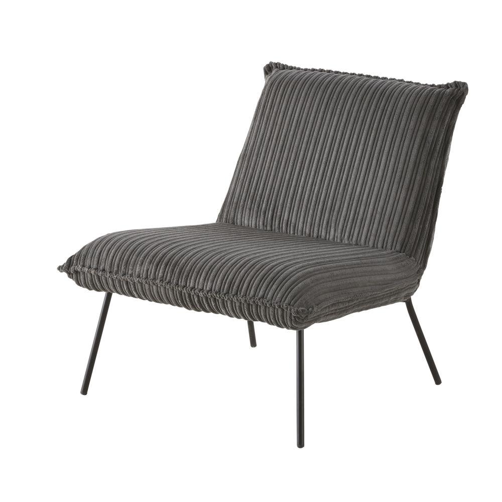 Sessel mit geripptem grauem Samtbezug Sam
