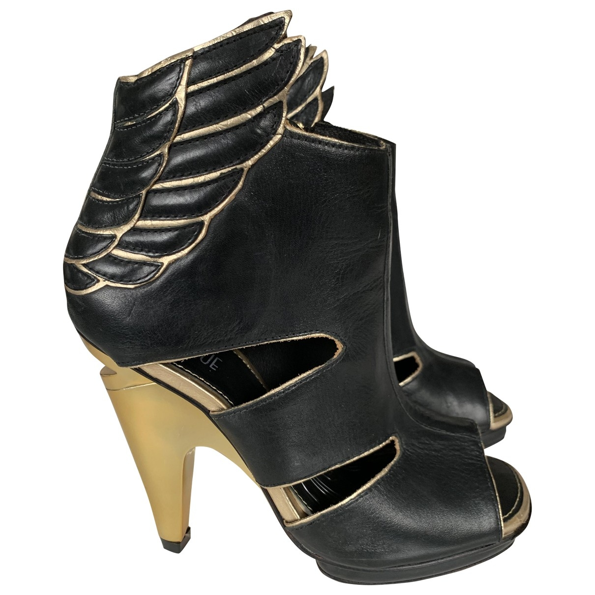 tophop \N Black Leather Ankle boots for Women 40 EU
