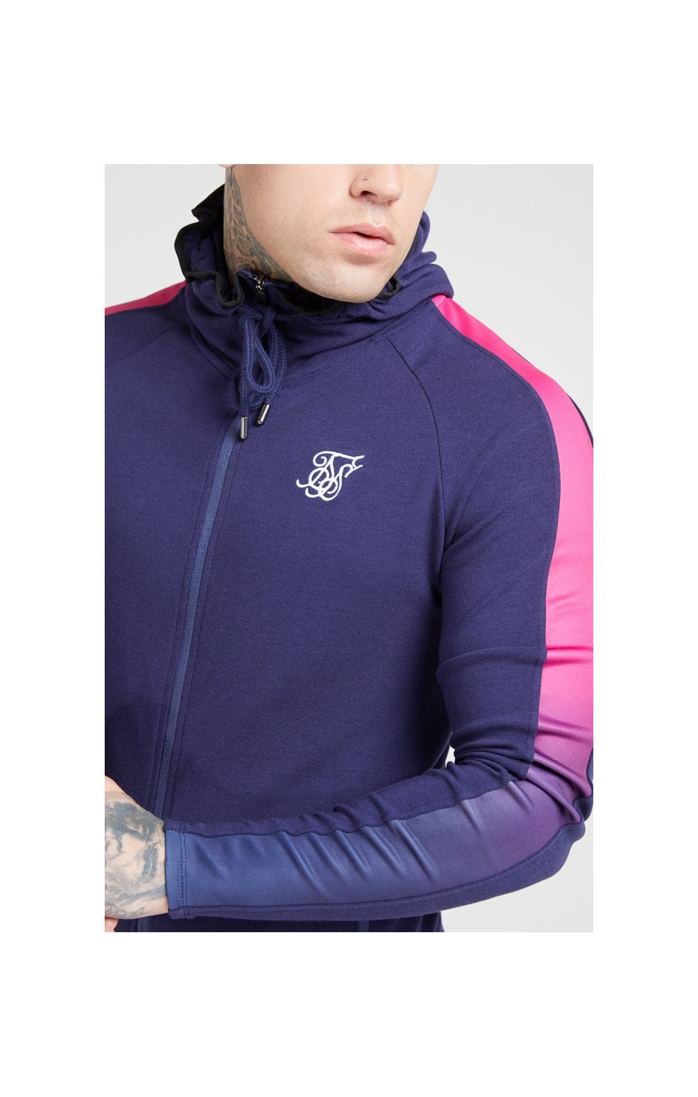 SikSilk SikSilk Fade Panel Zip Through Hoodie  Navy & Neon Fade ME