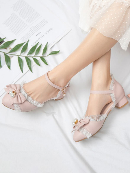 Milanoo Sweet Lolita Footwear Bows Lace Round Toe PU Leather Lolita Shoes