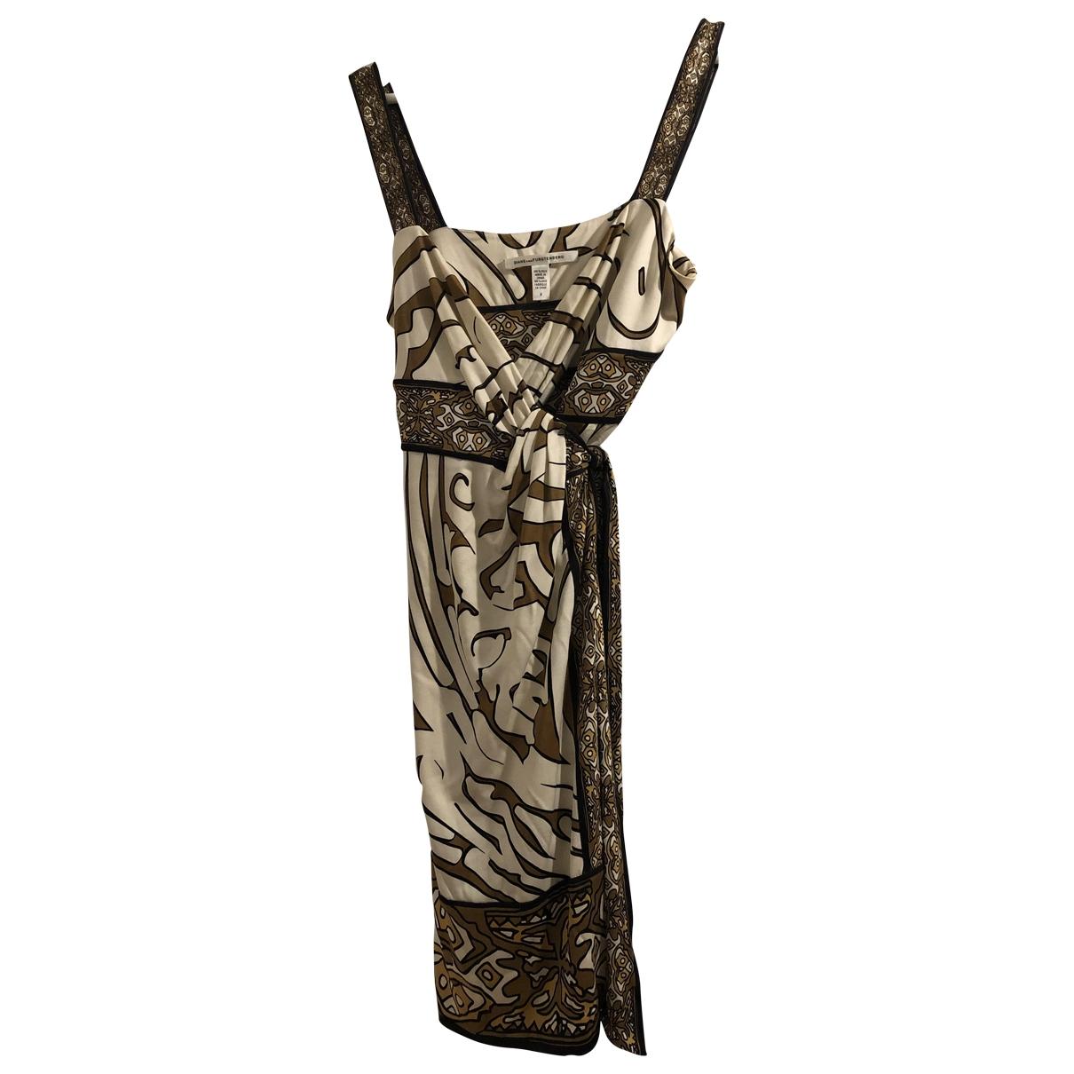 Diane Von Furstenberg \N Beige Silk dress for Women 8 US