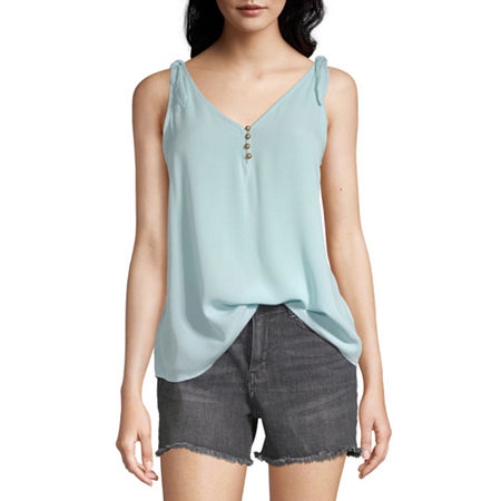 a.n.a Womens V Neck Sleeveless Tank Top, X-large , Blue