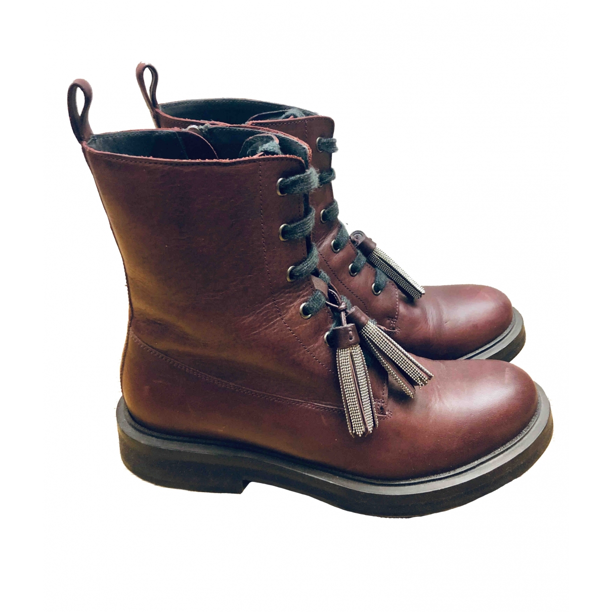 Brunello Cucinelli \N Burgundy Leather Ankle boots for Women 39.5 EU