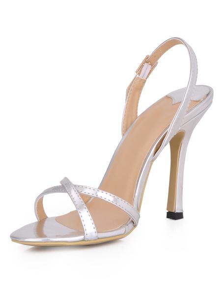 Milanoo High Heel Sandals Womens Black PU Open Toe Slingback Stiletto Heels Sandals