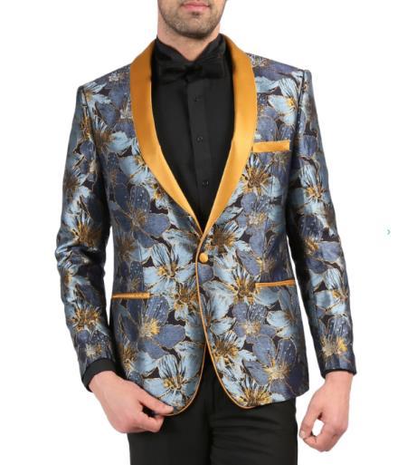 Mens Single Breasted Shawl Lapel Blue Tuxedo Blazer
