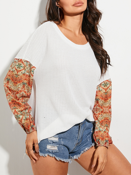 YOINS Tribal Spice Round Neck Long Sleeves Top