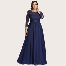 Plus Guipure Lace Panel Maxi Formal Dress