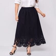 Plus Elastic Waist Laser Cut Hem Skirt