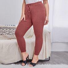 Pantalones de Punto de talla grande Cordon Liso Casual