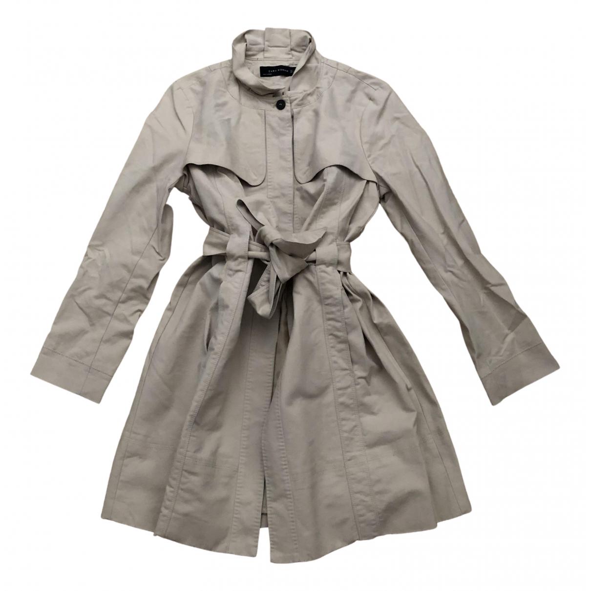 Zara - Trench   pour femme en coton - beige