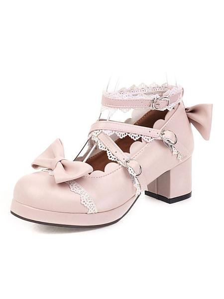 Milanoo Sweet Lolita Footwear Pink Bow Ruffles Punta redonda Zapatos de Lolita de cuero PU