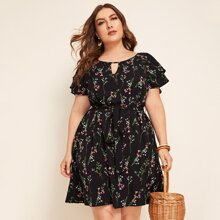 Plus Keyhole Neck Butterfly Sleeve Belted Dress