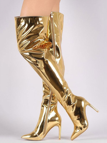 Milanoo Botas de puntera puntiaguada de tacon de stiletto Charol PU estilo moderno