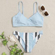 Stripe Wrap Cami Bikini Swimsuit