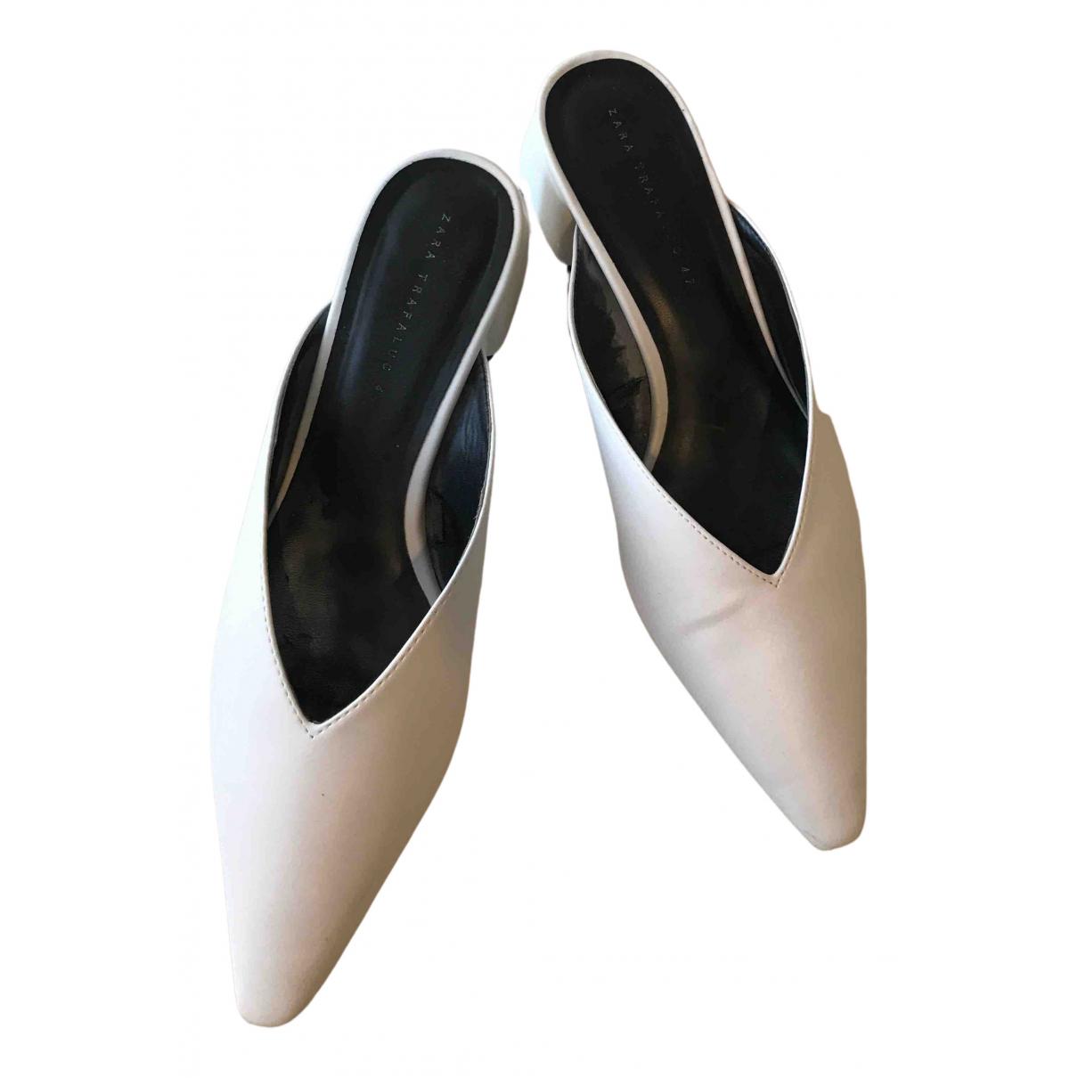 Zara - Sabots   pour femme en cuir - blanc