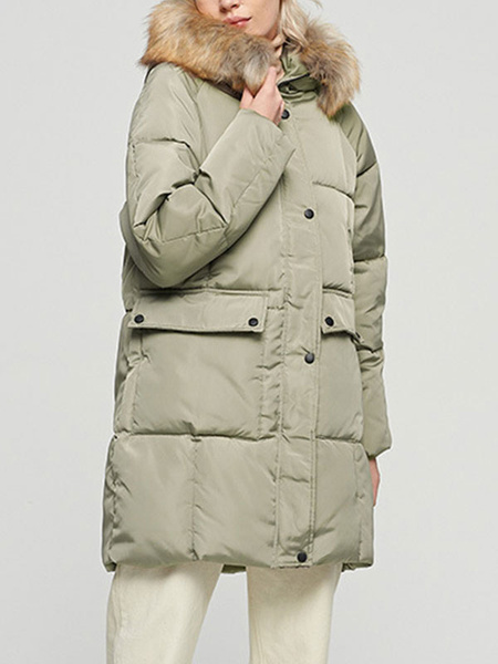 Milanoo Puffer Coats Hunter Green Hooded Zipper Long Sleeves Casual Winter Coat Outerwear