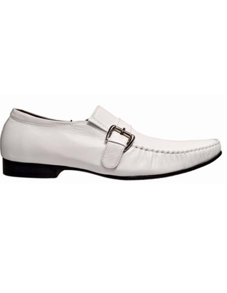 Mens White Slip On Leather Cushioned Insole Shoe
