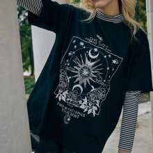 Slogan Floral Graphic Oversized Tee