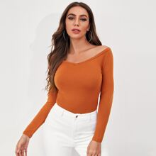 Off Shoulder Solid Fitted Tee