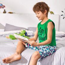 Schlafanzug Set mit Buchstaben & Grafik Muster
