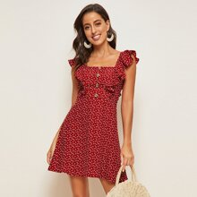 Confetti Heart Print Ruffle Armhole Button Front Dress