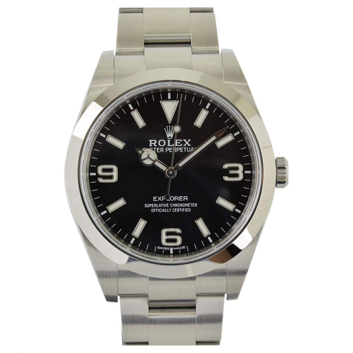 Rolex N Black Steel watch for Men N