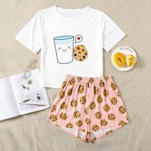 Schlafanzug Set mit Karikatur Keks und Milch Muster