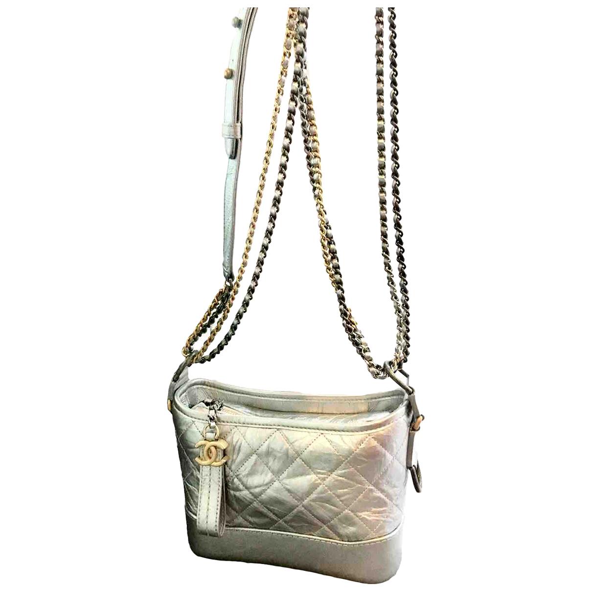 Chanel - Sac a main Gabrielle pour femme en cuir - argente
