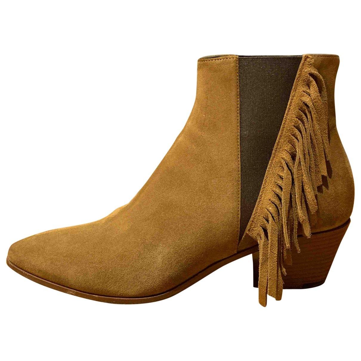 Saint Laurent Dakota Camel Suede Ankle boots for Women 37.5 EU