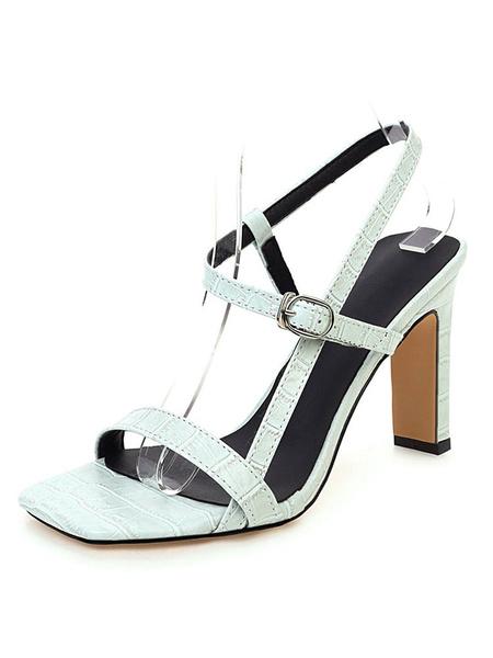 Milanoo Sandalias de tiras para mujer Chunky Heel Square Open Toe Plus Size Shoes