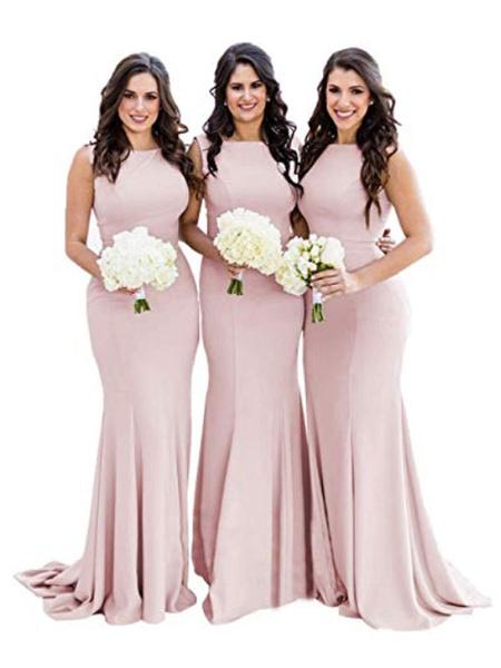 Milanoo Vestidos de dama de honor Sirena Joya Cuello cremallera Lycra Spandex Hasta el suelo Vestido de fiesta de bodas
