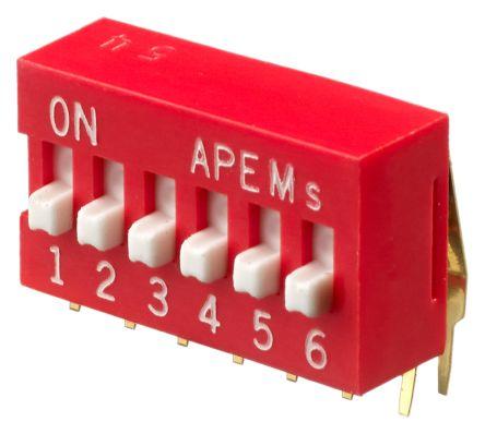 Apem 6 Way Through Hole DIP Switch SPST, Raised Actuator (28)