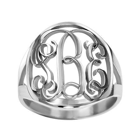 Personalized 18mm Vine Monogram Ring, 5 , White