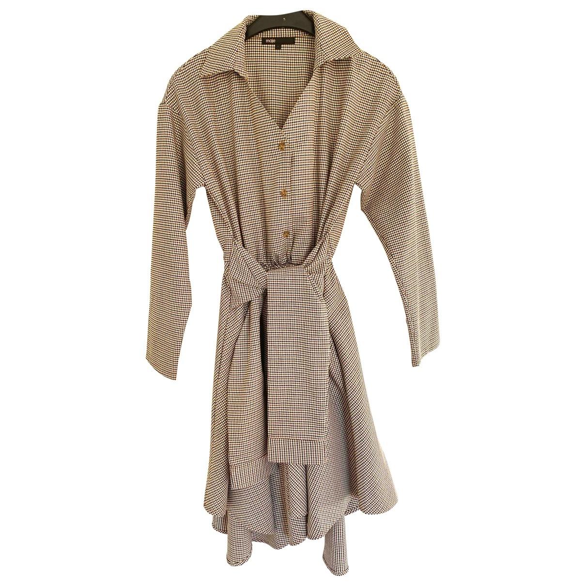 Maje \N Kleid in  Beige Baumwolle - Elasthan