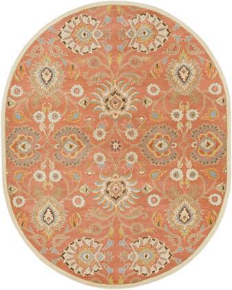 Caesar CAE-1124 6' x 9' Oval Traditional Rug in Camel  Moss  Aqua  Medium Grey  Burnt Orange  Dark