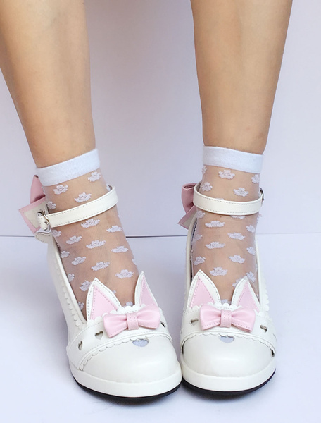Milanoo Sweet Lolita Shoes White Cat Bow Ankle Strap Heeled Lolita Pumps