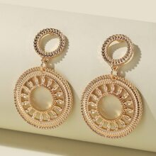 Hollow Out Round Charm Drop Earrings
