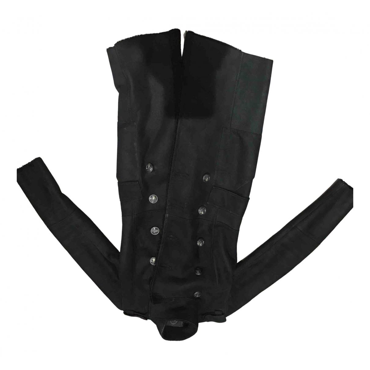 Sly010 - Manteau   pour femme en mouton - noir