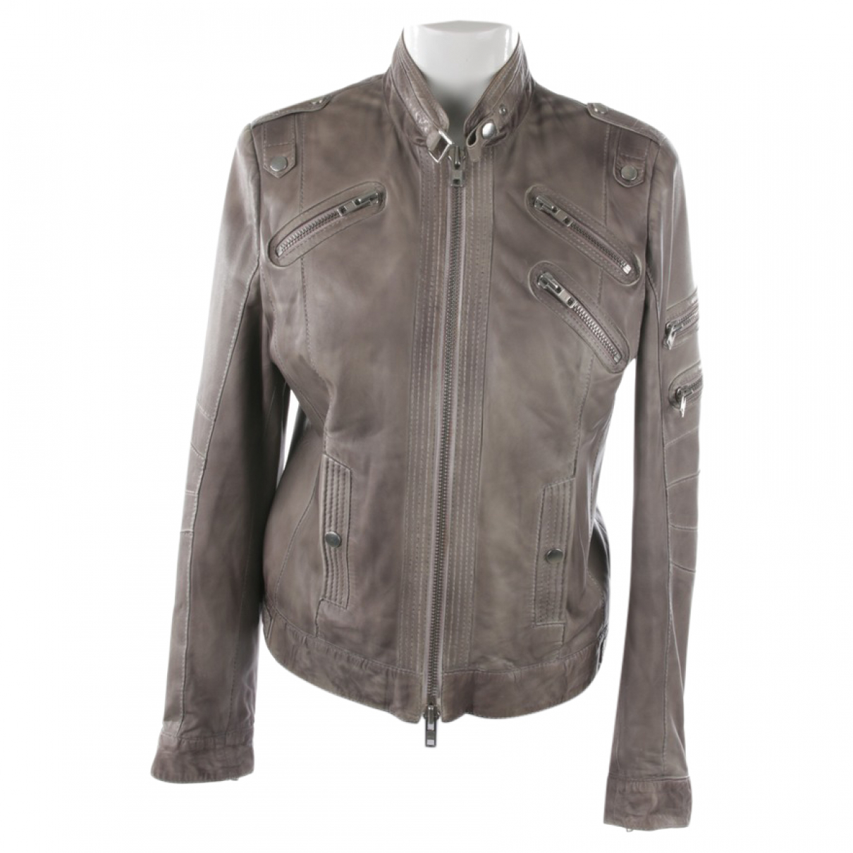 Autre Marque N Grey Leather jacket for Women 34 FR