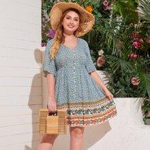 Kleid mit Bluemchen & Paisley Muster und Schosschenaermeln