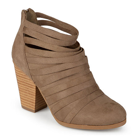 Journee Collection Womens Selena Strappy Ankle Booties, 8 1/2 Medium, Beige