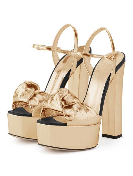 Milanoo Twisted Prom Heels Gold Platform Chunky Heel Dress Shoes High Heel Sandals