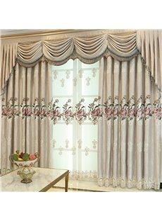 European Living Room Embroidered Chenille Blackout Custom Grommet Curtains