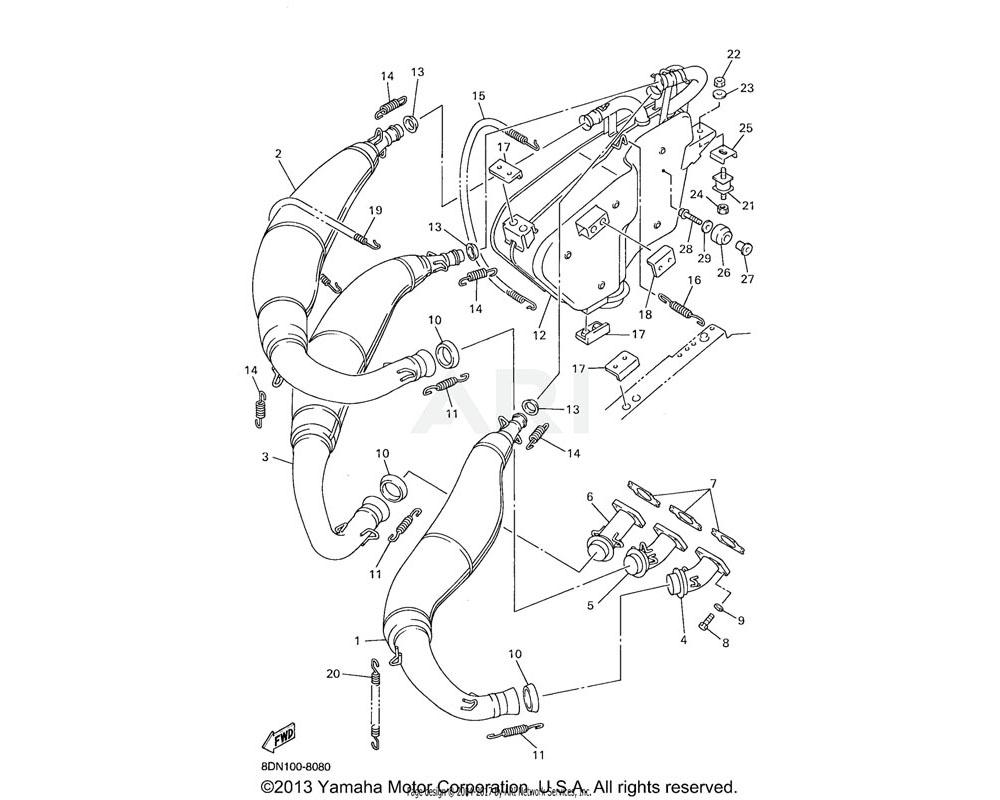 Yamaha OEM 8DF-14714-00-00 GASKET, MUFFLER