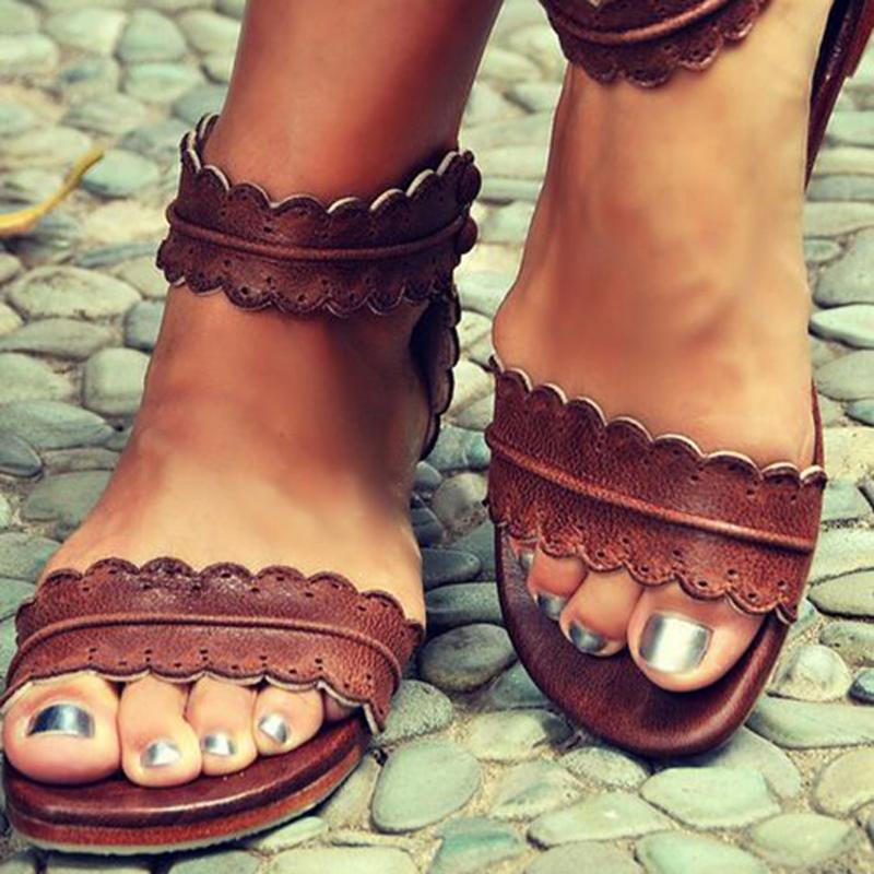 Ericdress Cool Brown Open Toe Flat Sandals