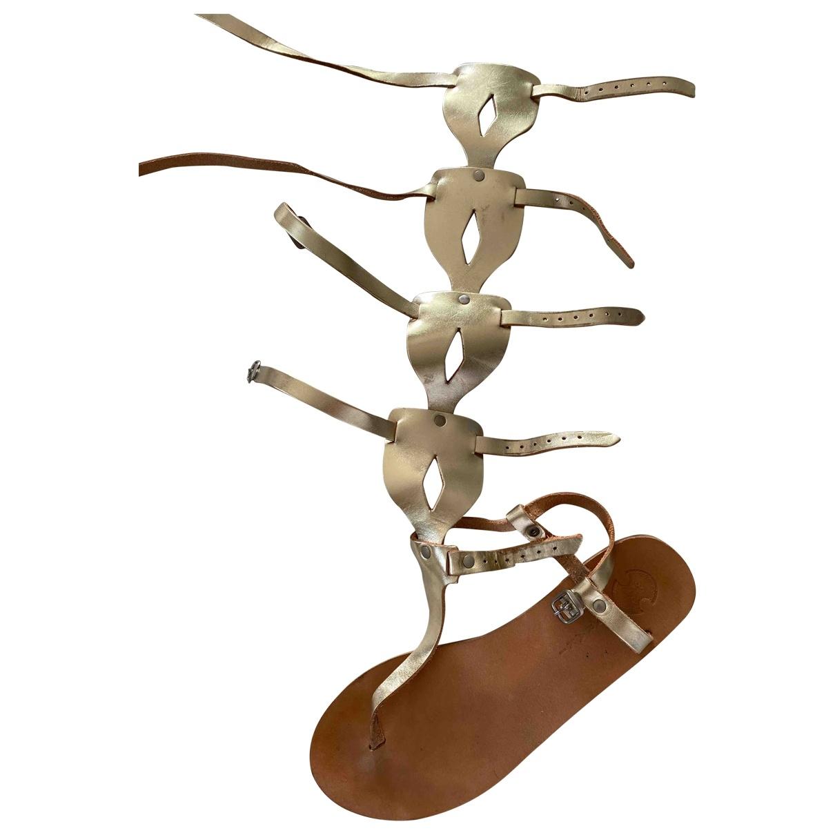 - Sandales Hippie Chic pour femme en cuir - dore
